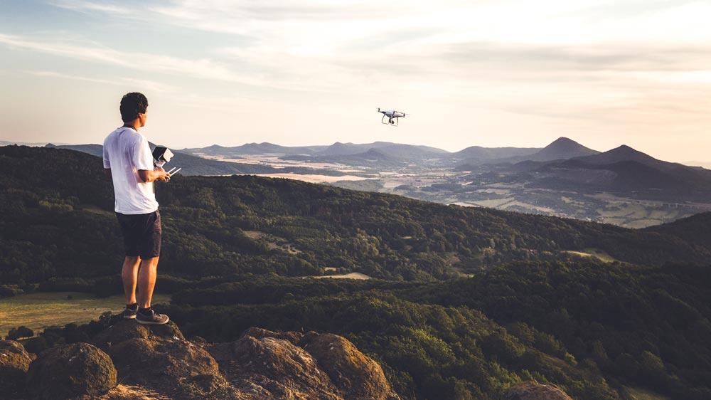 Landscape photographer Lukáš Veselý with a drone
